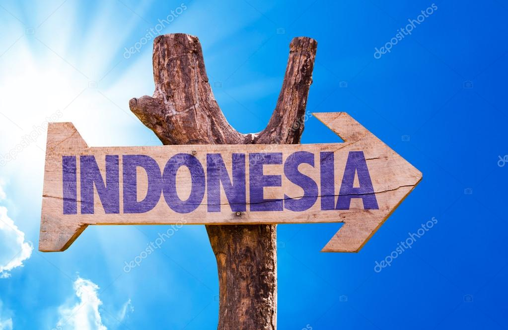 Indonesia wooden sign