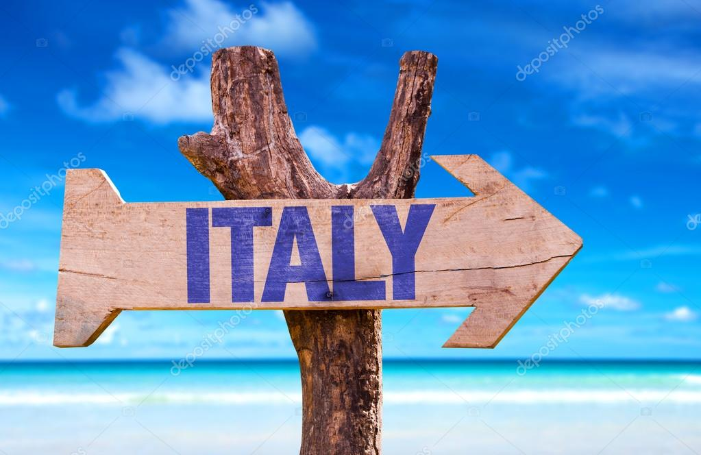 Italy wooden sign