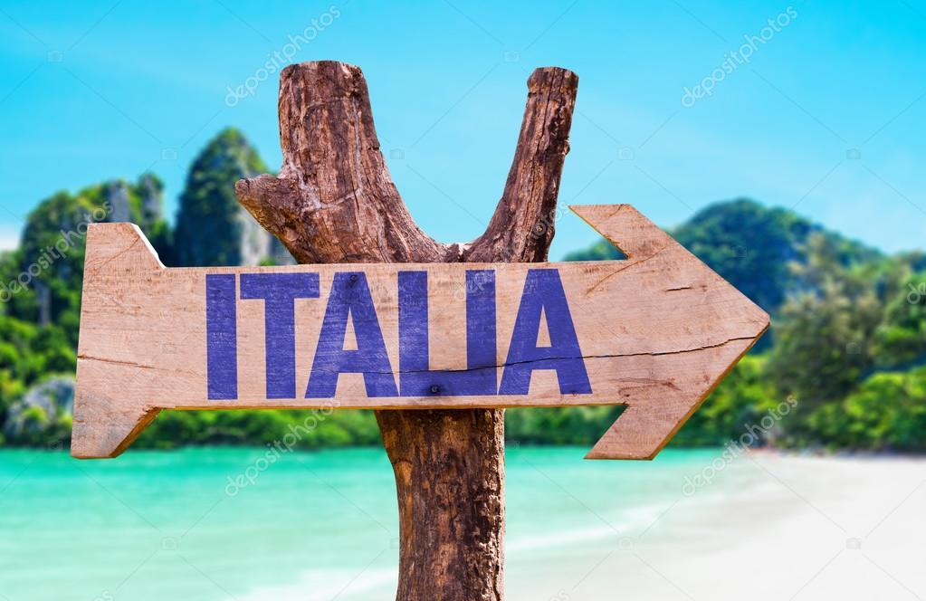 Italia wooden sign