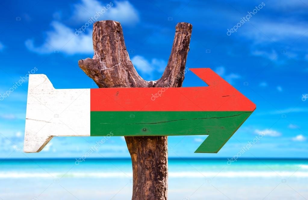 Madagascar Flag wooden sign