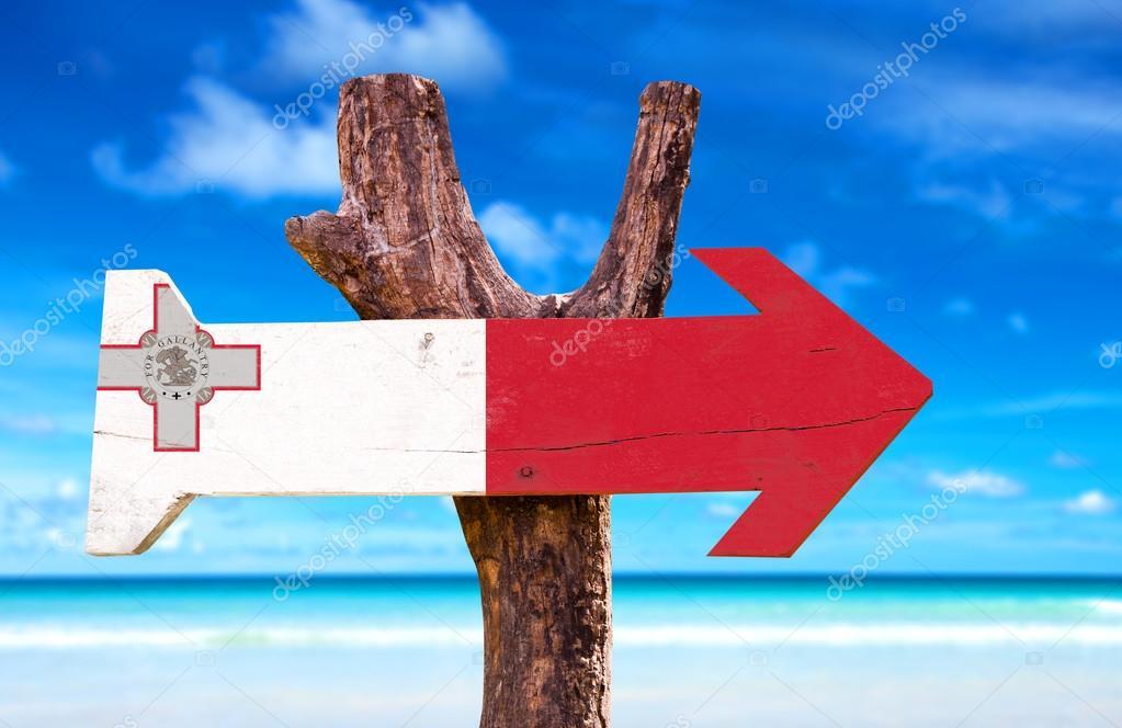 Malta Flag wooden sign
