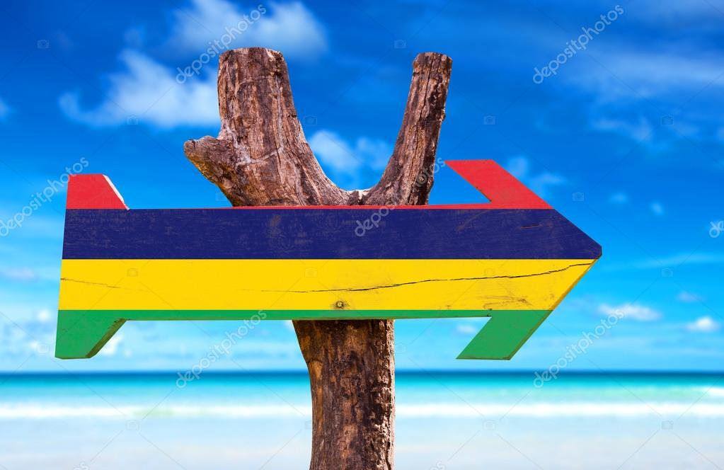 Mauritius Flag wooden sign