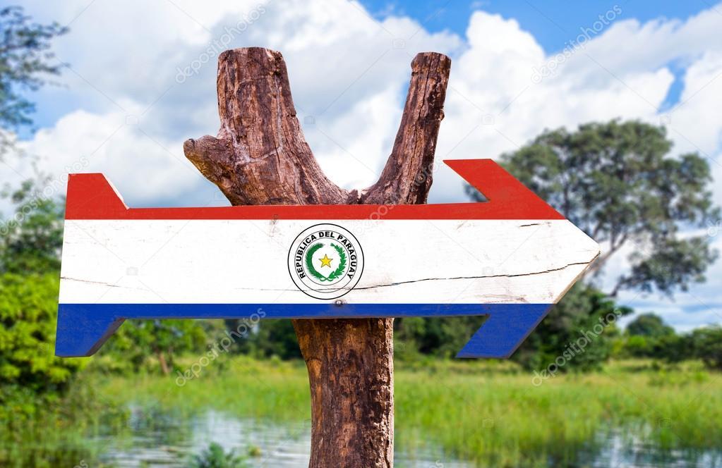 Paraguay Flag wooden sign