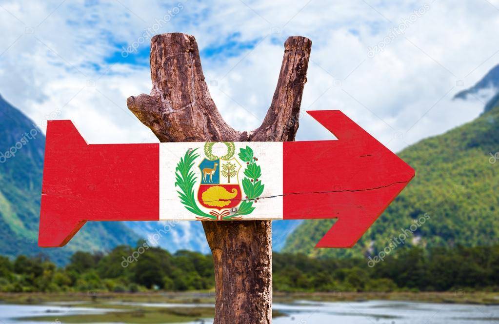 Peru Flag wooden sign