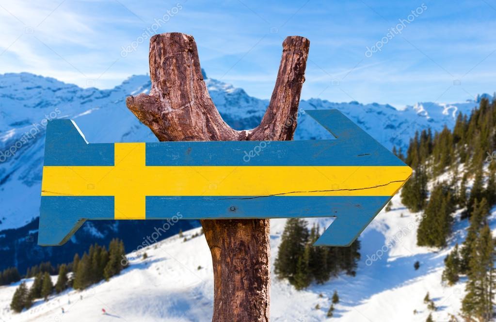 Sweden wooden sign