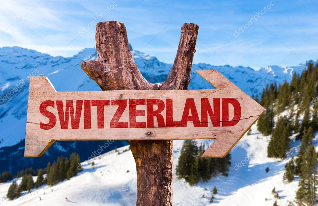 Switzerland wooden sign