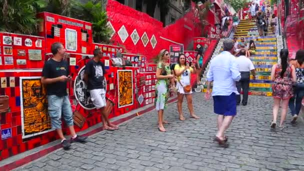 Tourists take picture on Escadaria Selaron