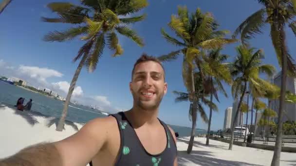 Portrait of a tourist in a beach