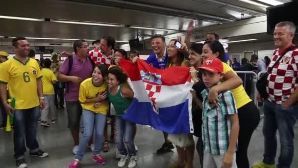 Croatians Fans celebrate with Brazilians