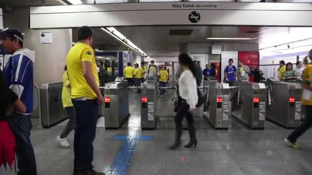 Supporters leaving the subway
