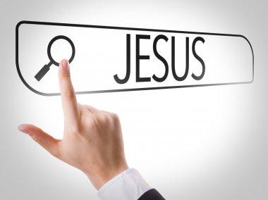 Jesus written in search bar on virtual screen stock vector