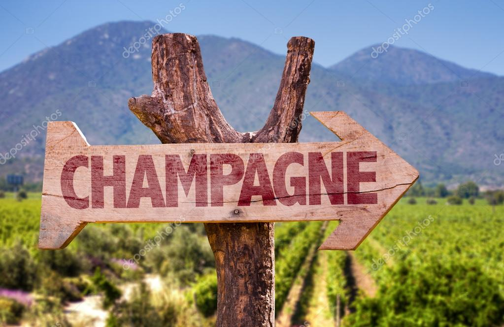 Champagne wooden sign