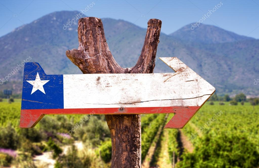 Chile Flag wooden sign