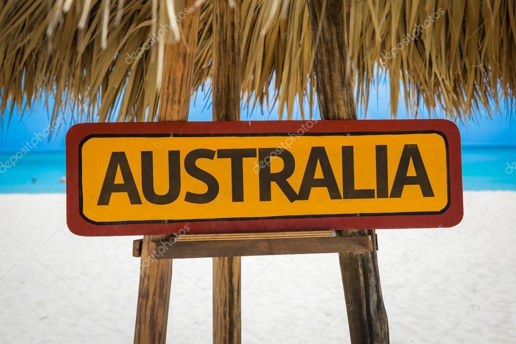 Australia sign with beach