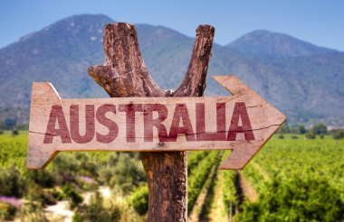 Australia wooden sign