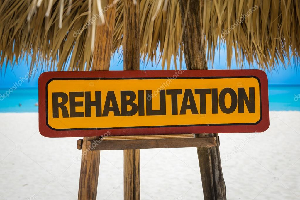 Rehabilitation sign with beach