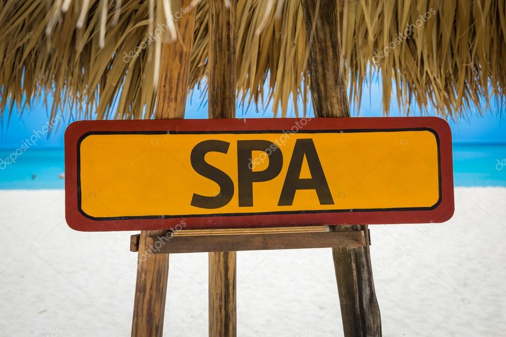 SPA sign with beach