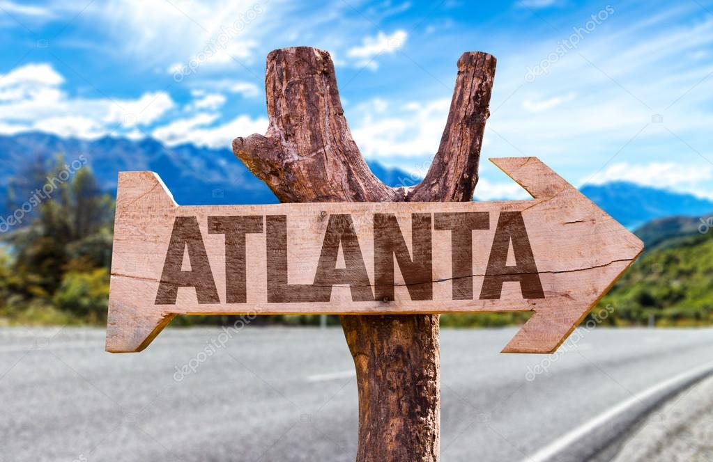 Atlanta wooden sign with