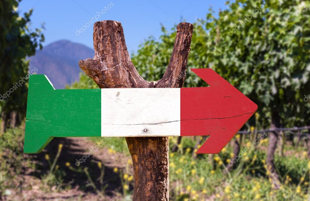 Italy Flag on wooden sign