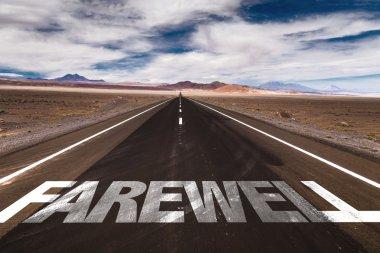 Farewell written on desert road