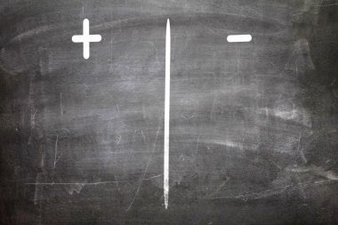 Plus and Minus written on a chalkboard