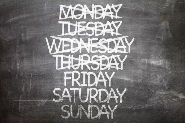 Days of Week  on a chalkboard