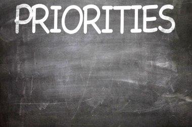 Priorities written on a chalkboard