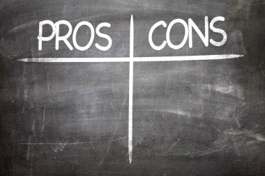 Pros Cons on a chalkboard