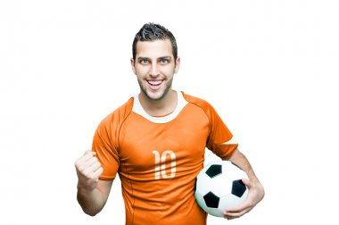 Soccer fan celebrates with orange t-shirt