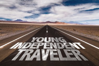 Young Independent Traveler on road