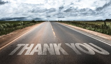 Thank You written on rural road stock vector