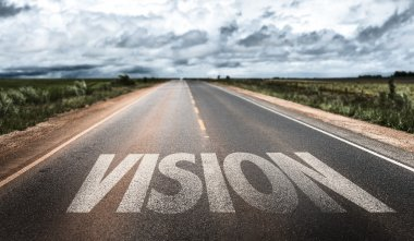 Vision written on rural road stock vector