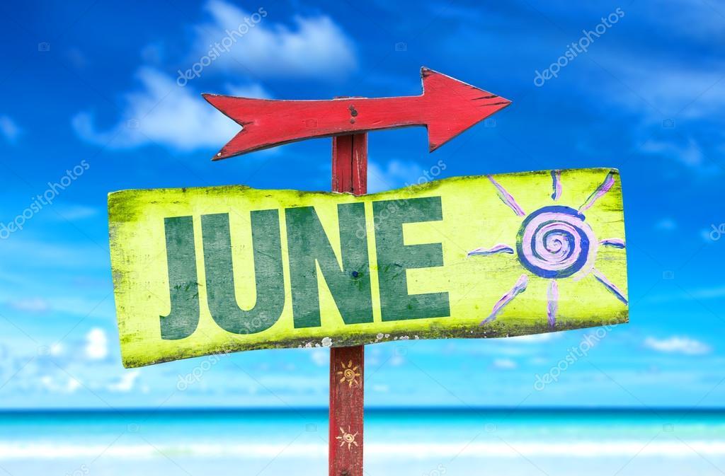 June wooden sign