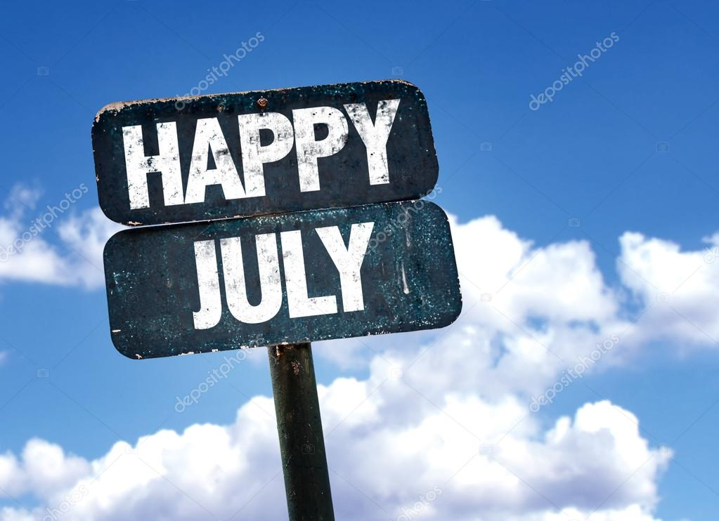 Happy July sign