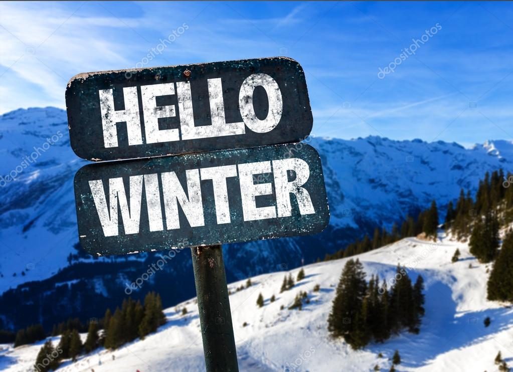 Hello Winter sign