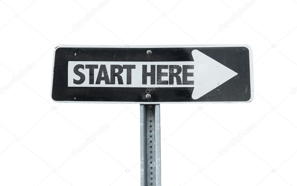 Start Here direction sign