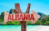Fotografie albania wooden sign