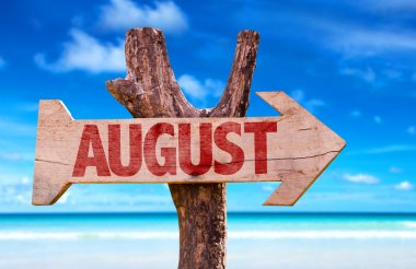 August wooden sign