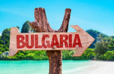 Bulgaria wooden sign with beach background stock vector