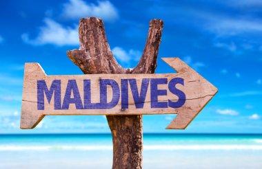 Maldives wooden sign