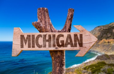 Michigan wooden sign