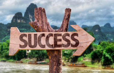 Success wooden sign