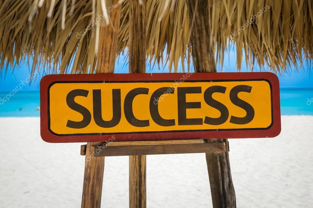 Success text sign