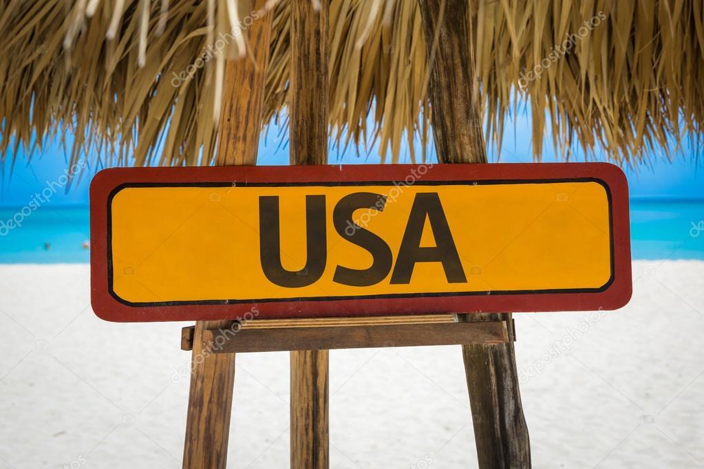 USA text sign