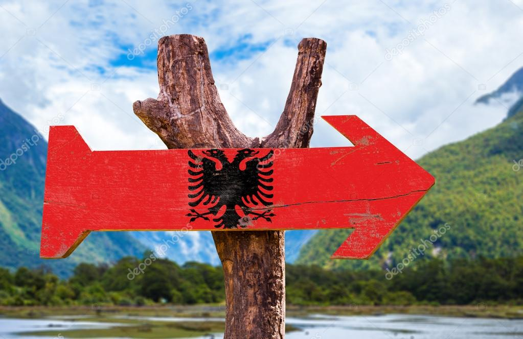 Albania Flag wooden sign