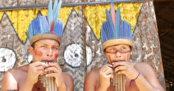 Nativní Brazilci hraní dřevěné flétny
