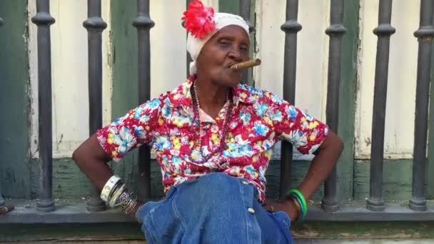 Cuban woman smoking cigar