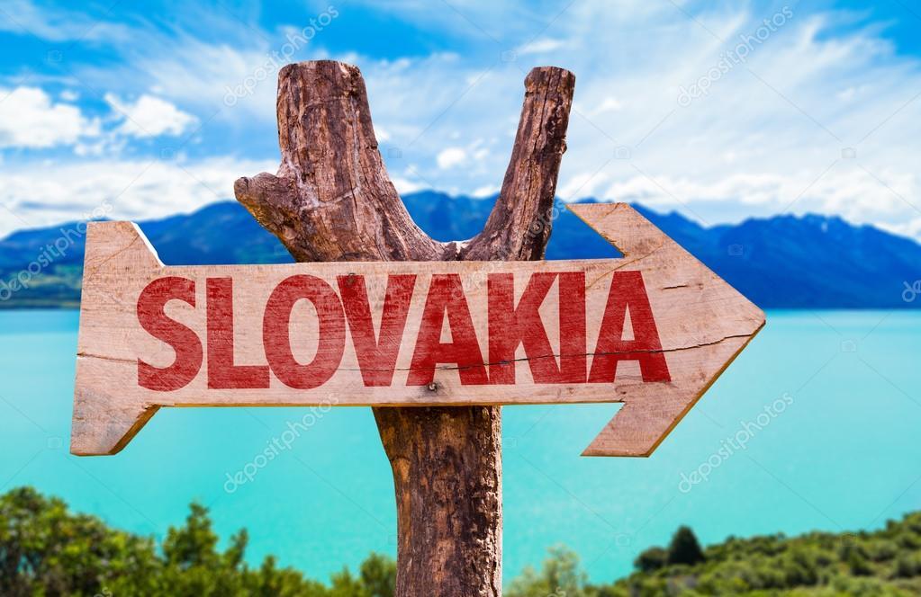 Slovakia wooden sign
