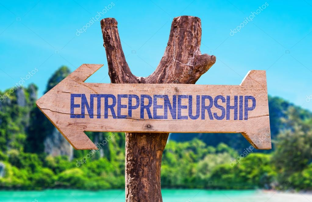 Entrepreneurship wooden arrow