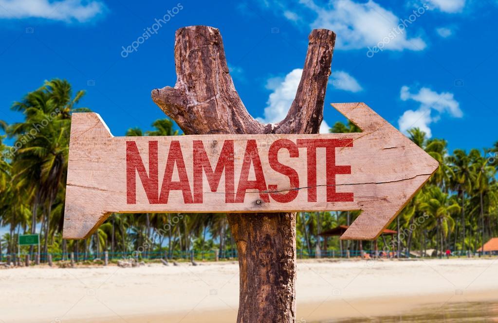 Namaste wooden arrow